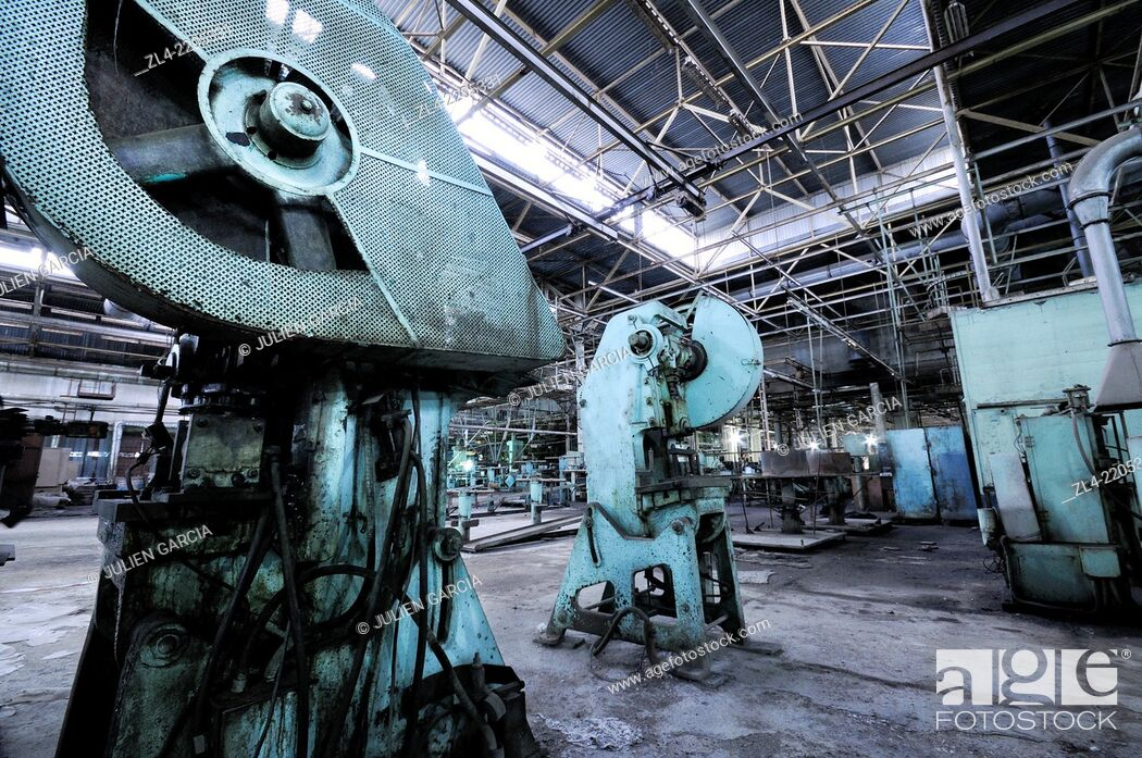 Stock Photo: Abandoned air conditioner factory which used to employ 6000 workers in the 1970s until the production was ground to a halt as a result of the collapse of the.