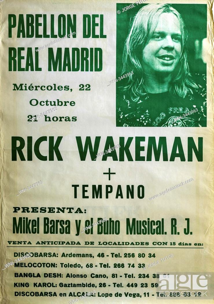 Stock Photo: Rick Wakeman, Madrid 1986 tour, Musical concert poster.
