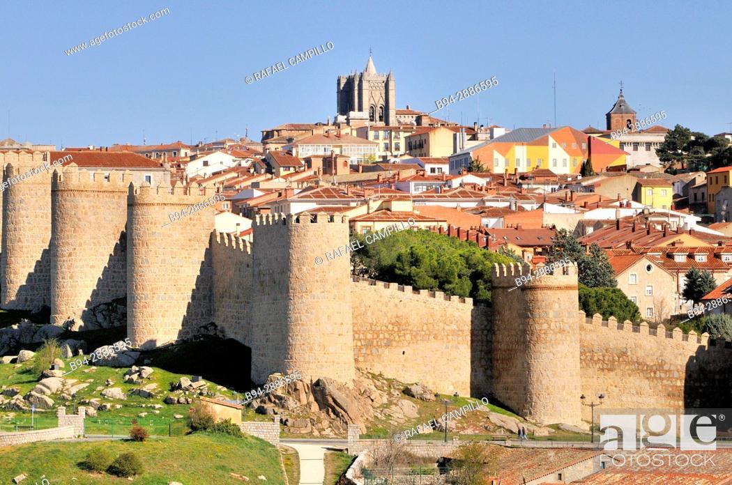Stock Photo: Medieval City Walls, Avila, Castile and Leon, Spain. UNESCO World Heritage Site.