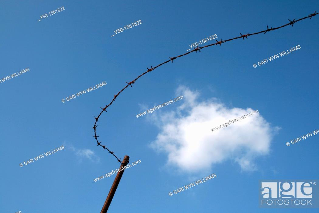 Stock Photo: old rusted barbed wire fence in countryside.