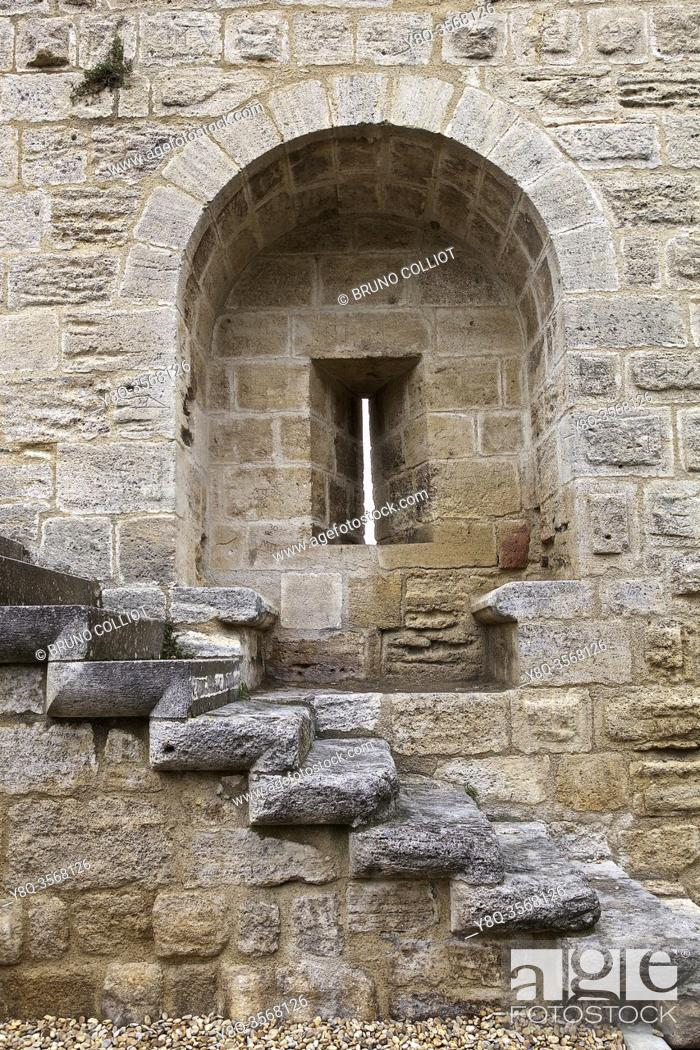 Stock Photo: detail of the architecture of the western rampart of the Citadel of Aiguës-Mortes, France.