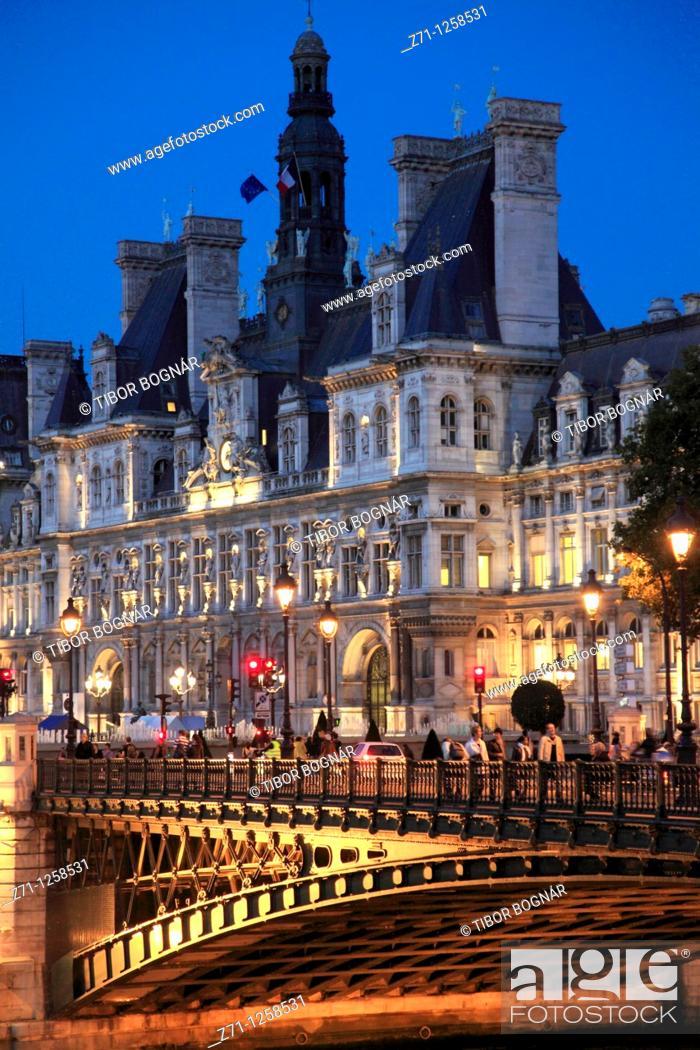 Stock Photo: France, Paris, Hôtel de Ville, City Hall,.