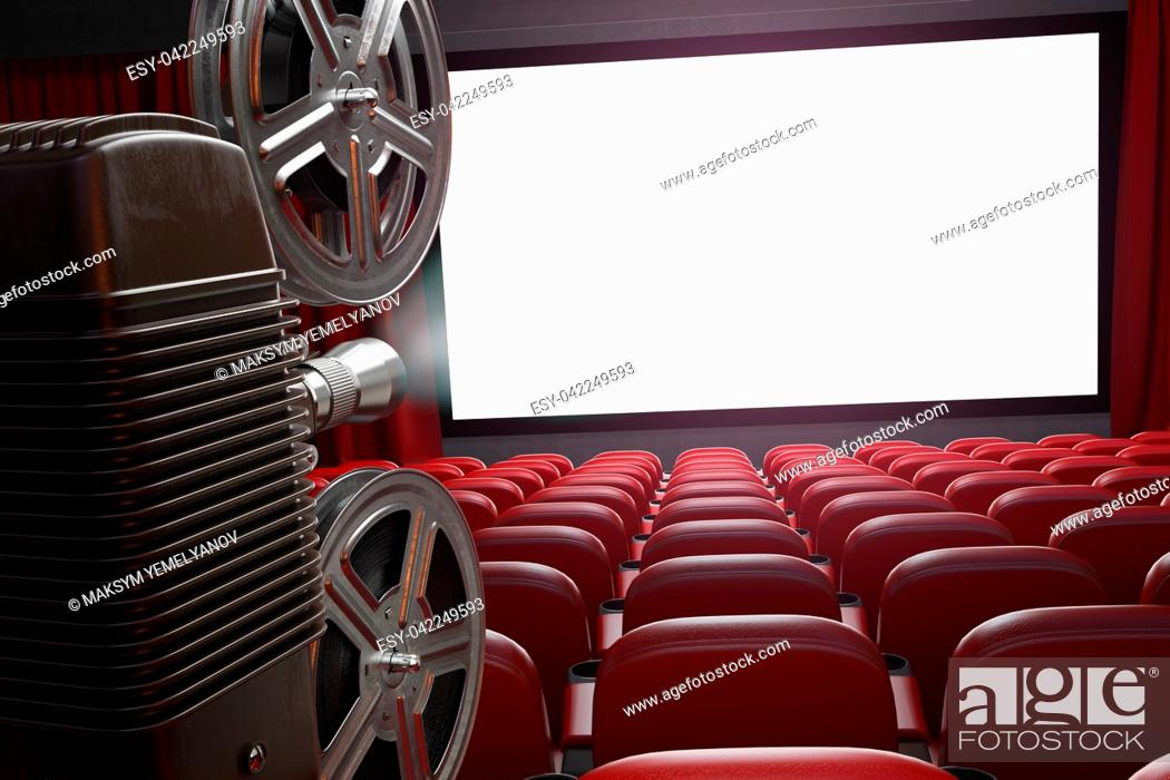 Imagen: Movie projector and blank cinema screen with empty seats. Cinema, movie or home video concept background. 3d illustration.