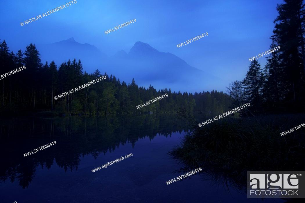 Stock Photo: Hochkalter massif at blue hour, Hintersee, Berchtesgaden, Bavaria, Germany.