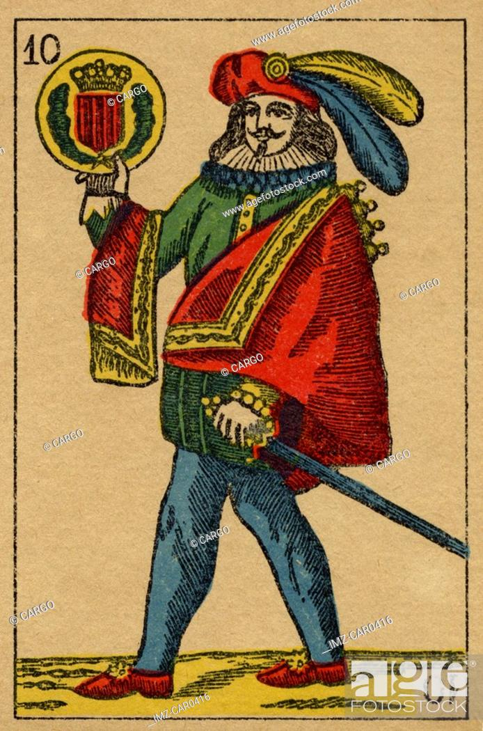 Stock Photo: Vintage playing card showing a man with feathered hat holding a sword and a coat of arms.