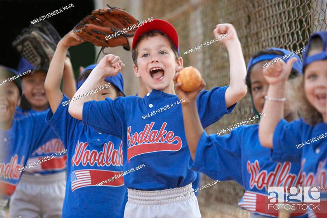Stock Photo: Little League team cheering.