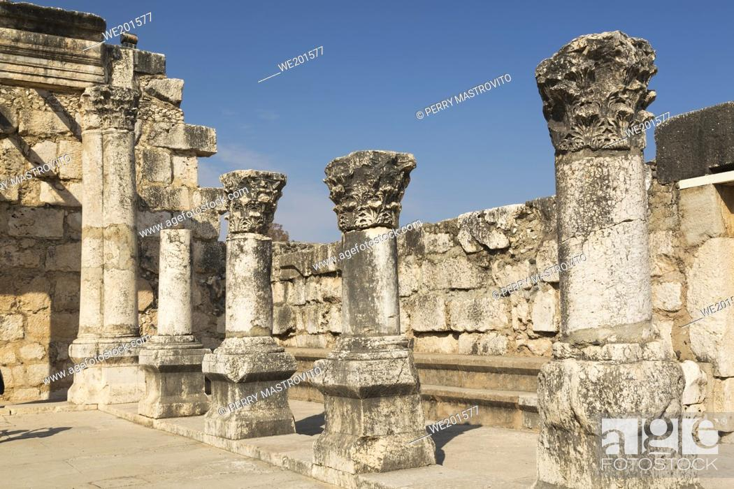 Stock Photo: Old ruins of The White Synagogue, Capernaum, Sea of Galilee region, Israel.