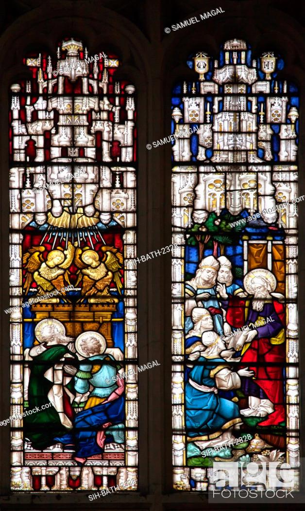 Stock Photo: A stained glass window, depicting scenes from the first five books of the Old Testament. It was built by Clayton and Bell, and called Pentateuch Window.