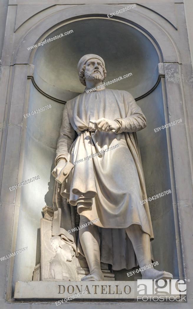 Stock Photo: Donatello Statue Uffizi Gallery Florence Tuscany Italy. Statue by Girolamo Torrini in 1800s. 1400s Sculptor David.