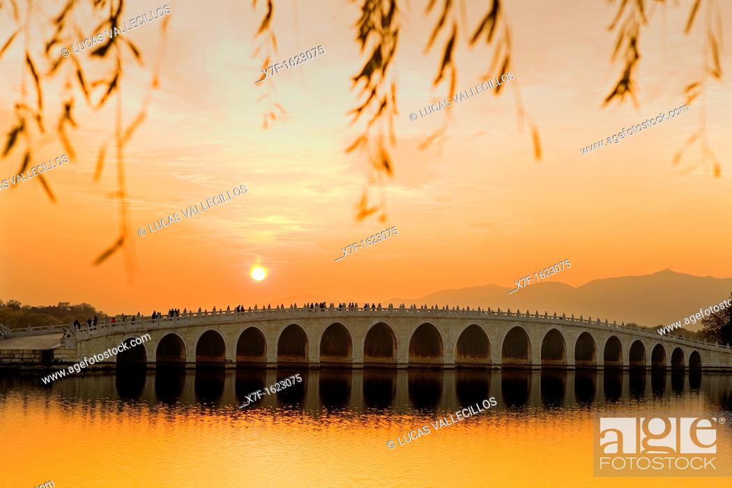 Stock Photo: Summer Palace, in Kunming Lake  Seventeen arch bridge,Beijing, China.