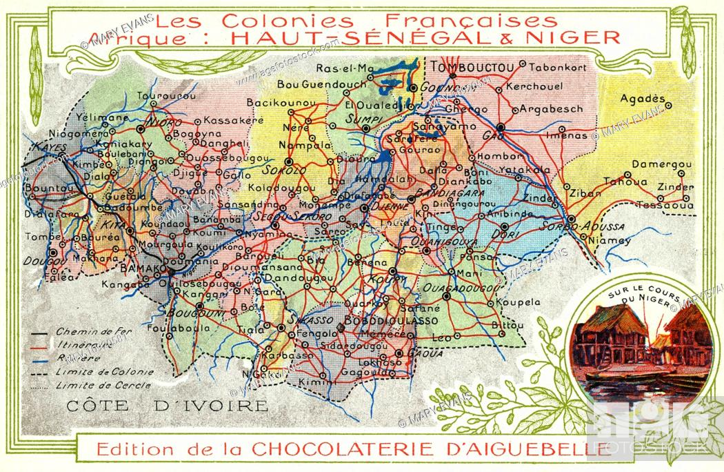 French Africa Map.Senegal And Niger French Colonies In Africa Map Showing Main