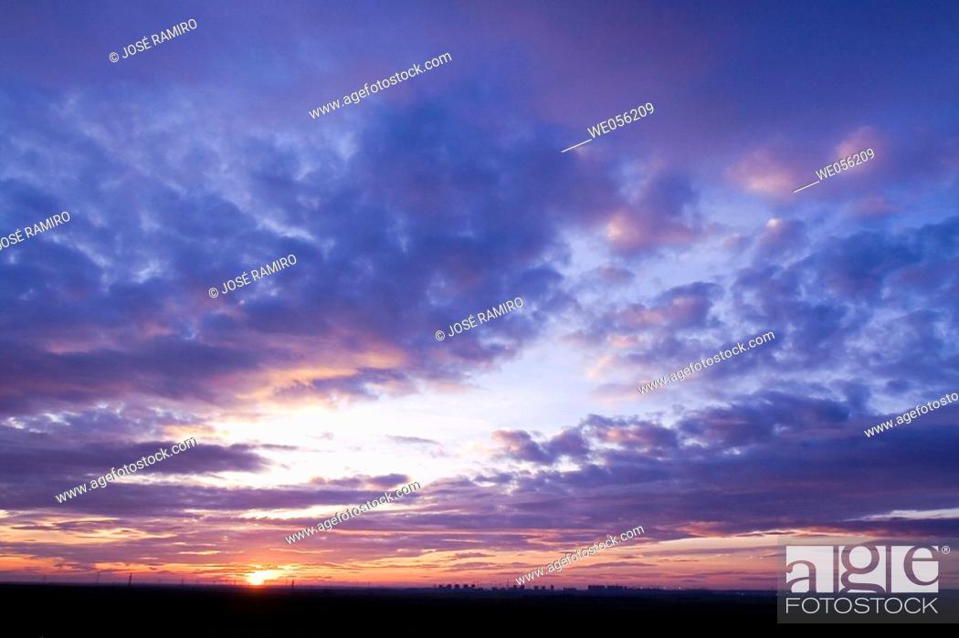 Stock Photo: Sunset over Parla. Madrid, Spain.
