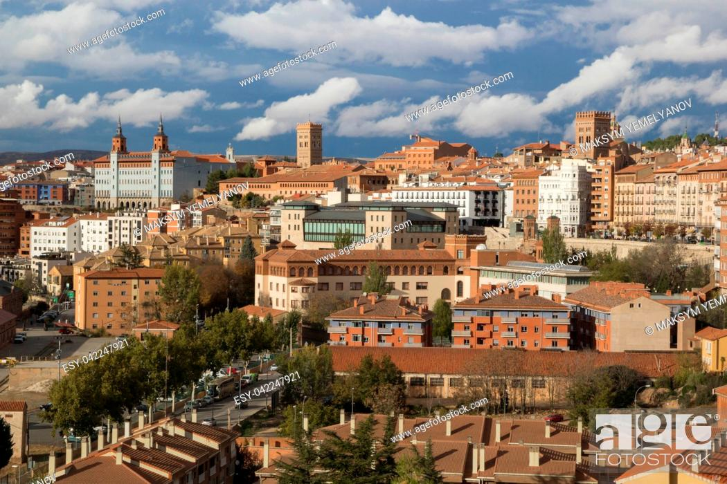 Stock Photo: Teruel, Aragon, Spain. Aerial view of medieval city Teruel in december.