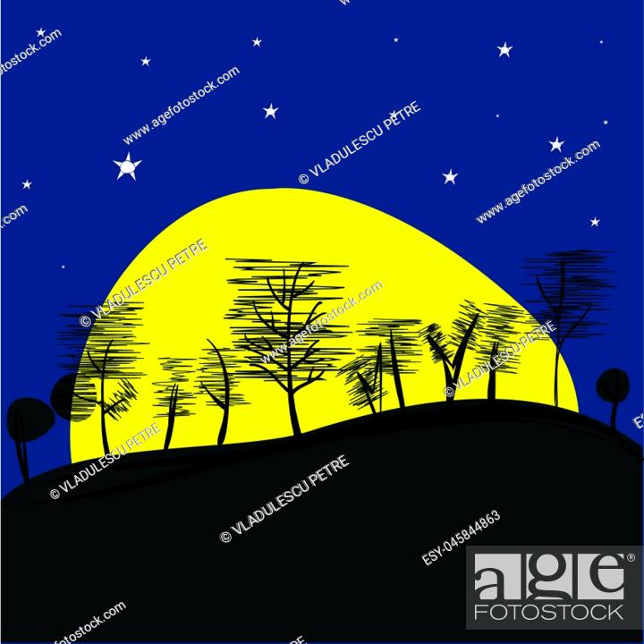 Stock Vector: Landscape with Supermoon.