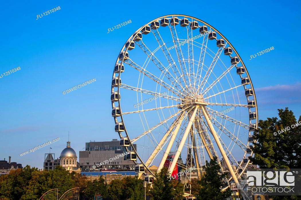 Stock Photo: The Montreal Observation Wheel in the Old Port of Montreal; Montreal, Quebec, Canada.