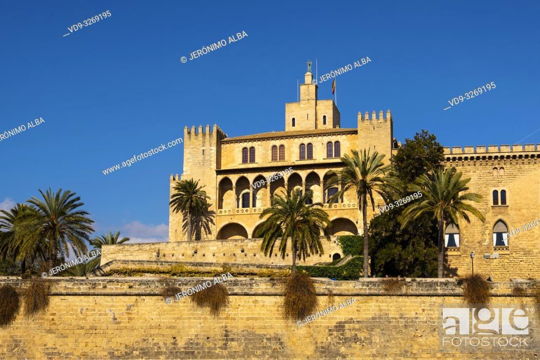 Stock Photo: Royal Palace of La Almudaina, Palma de Mallorca. Majorca, Balearic Islands, Spain Europe.