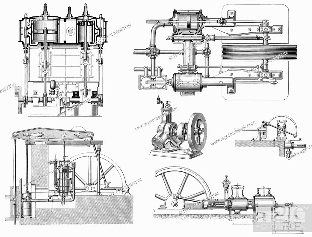 historical graphic representation, technical drawing, various steam