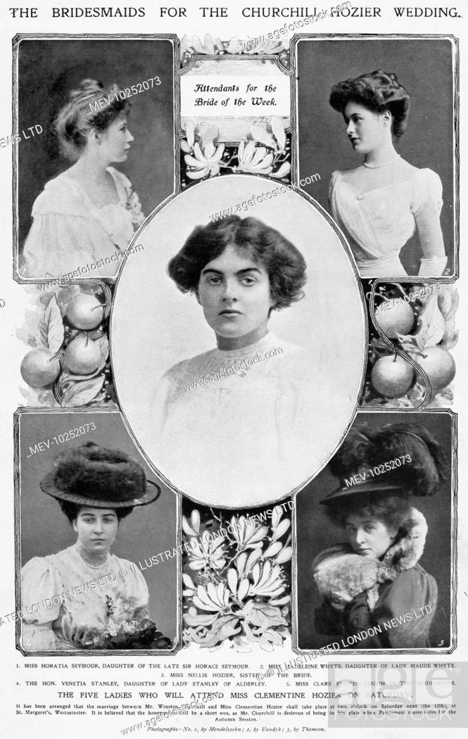 Stock Photo: Five ladies who were bridesmaids at the wedding of Winston Churchill and Clementine Hozier on 12th September 1908. From left, Miss Horatia Seymour.