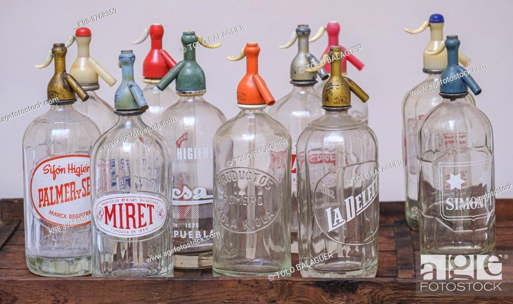 Stock Photo: old soda water bottles, Mallorca, Balearic Islands, Spain.