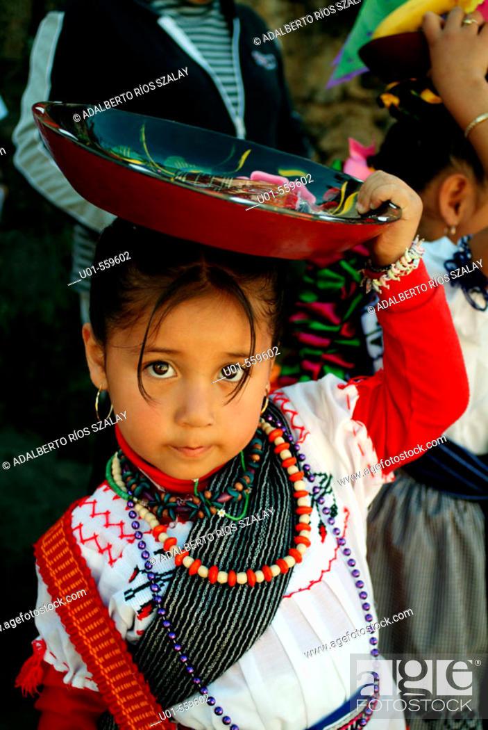 Stock Photo: Little girl in Patzcuaro, centre of Purepecha culture. Michoacan, Mexico.