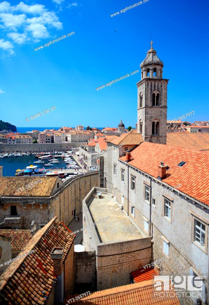 Stock Photo: View of the Old Town from the walls of Dubrovnik with tower of Dominican Monastery, Croatia.