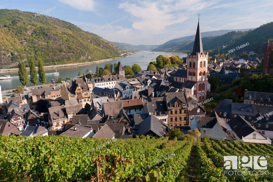 Stock Photo: Bacharach village on Romantic River Rhine in Germany.