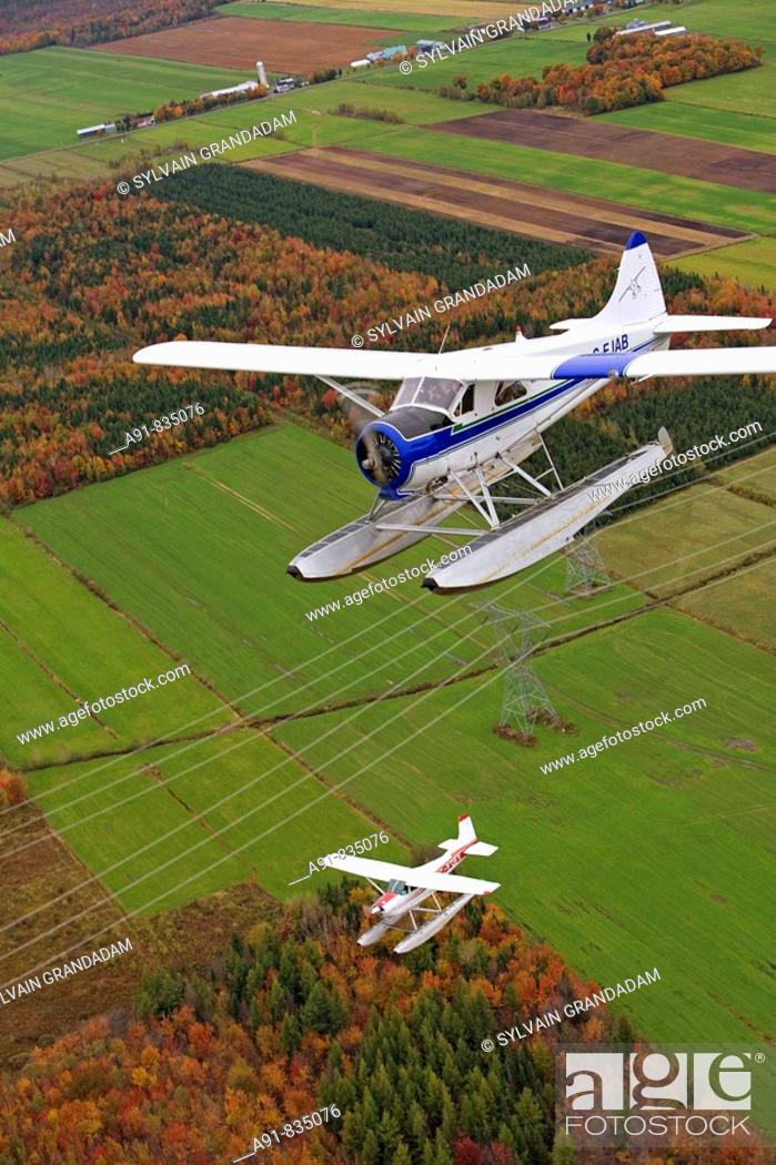 Stock Photo: Flying over East counties in seaplane at fall, Quebec, Canada.