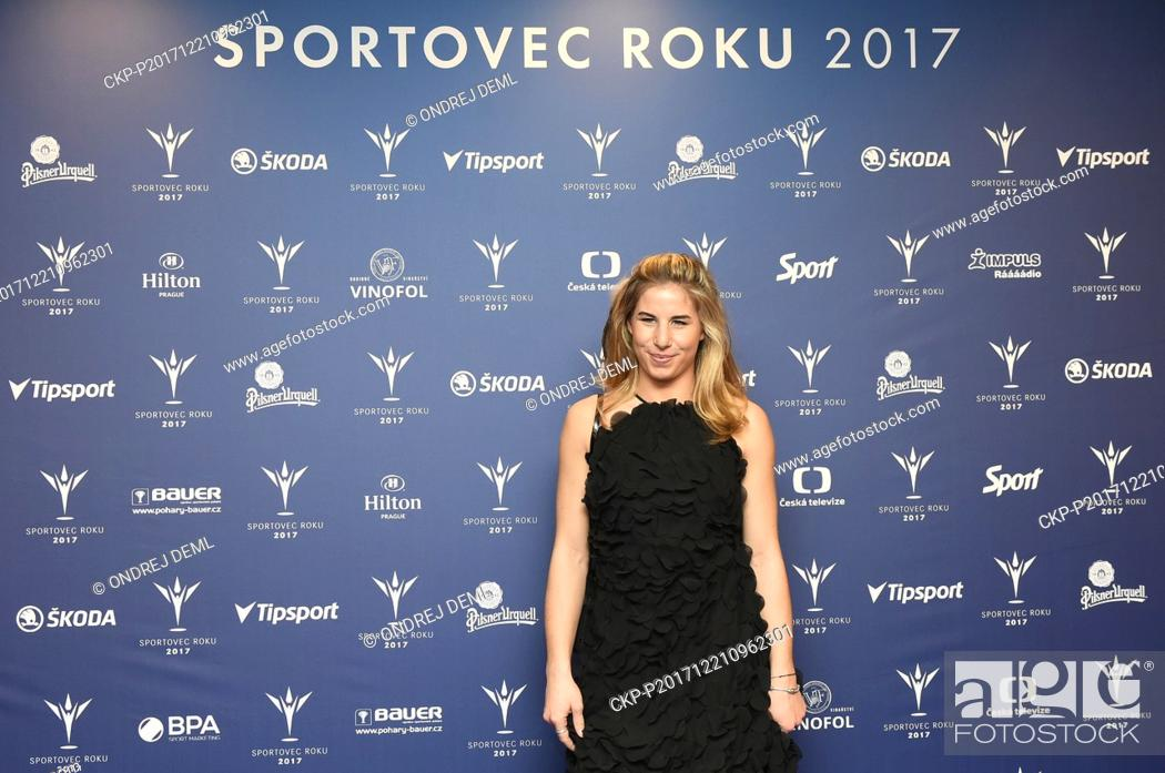 Stock Photo: Czech snowboarder and skier Ester Ledecka (placed the fifth) attends an event of the Czech Champion of Sports 2017, a poll organised by sport journalists.