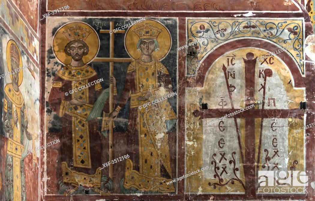 Photo de stock: Frescoes in the Georgian Orthodox Church of the Virgin depicting the Georgian king Demetrius I, son of David IV, together with his wife.