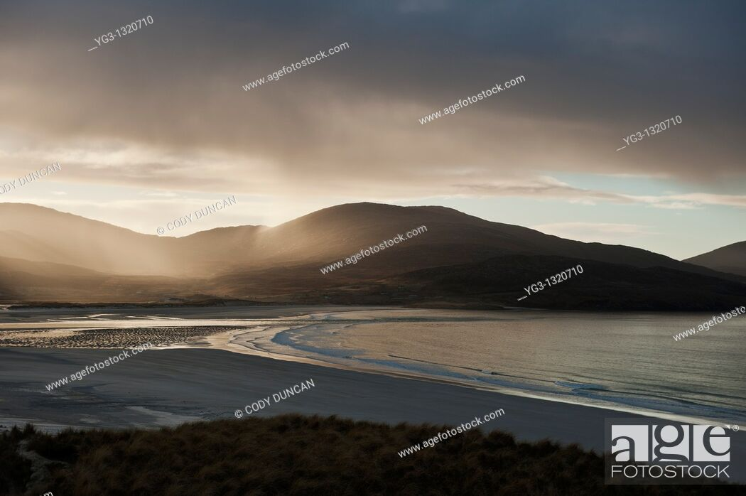 Stock Photo: Rain falling over Isle of Harris, Viewed from Luskentyre Beach, Outer Hebrides, Scotland.