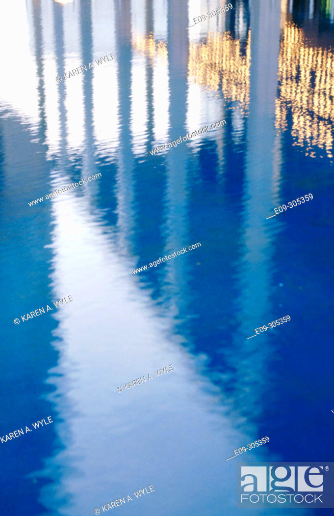 Stock Photo: reflections in a pool at Music Center, Los Angeles, California, USA.