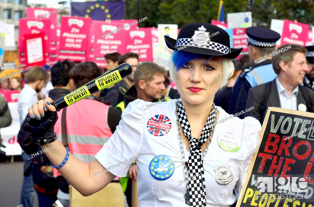 Stock Photo: Madeleina Kay - Young European of the Year / 'EU' Supergirl and for one day EU Super Police Girl - campaigning against Brexit at the People's Vote March in.