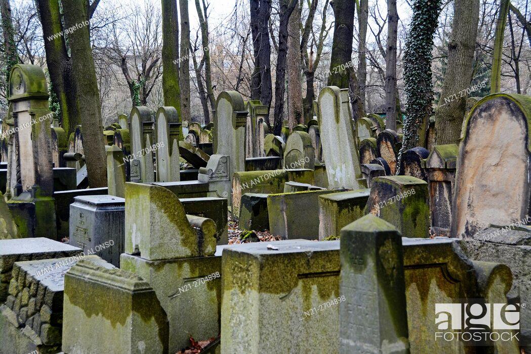Stock Photo: New Jewish Cemetery. Kazimierz neighbourhood, Krakow, Poland, Europe.