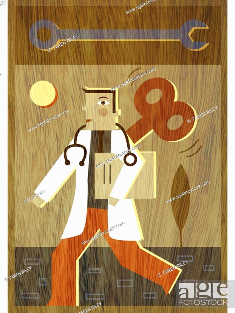 Stock Photo: A doctor with a wind up coming out of his back and a wrench above his head.