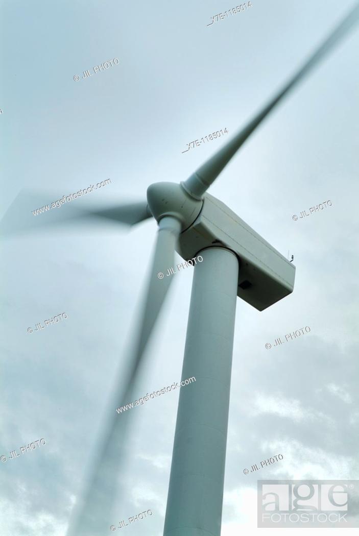 Stock Photo: rotating wind turbine  Navarra  Spain.