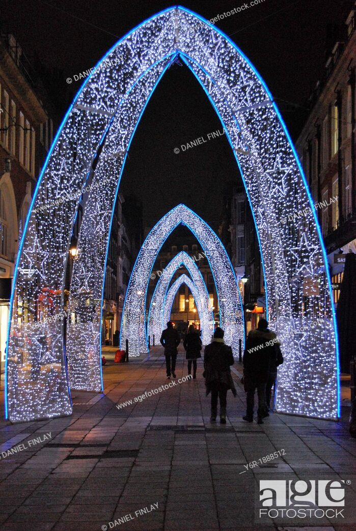 Stock Photo: Christmas lights on South Molton Street in the heart of London, England.