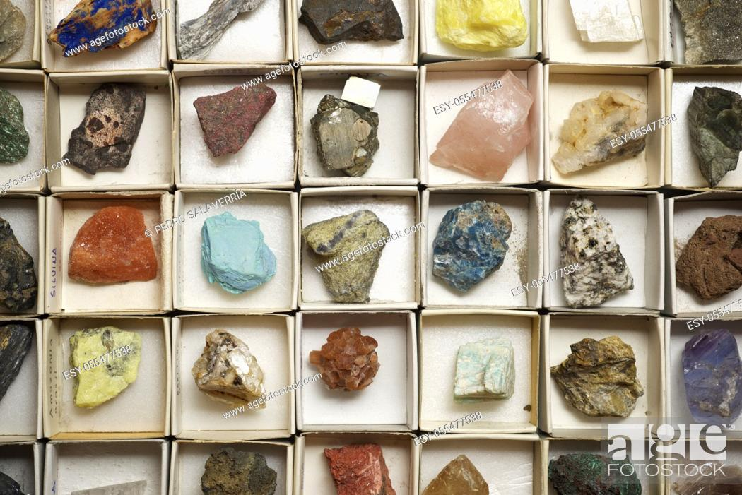 Stock Photo: Collection of minerals in cardboard boxes.