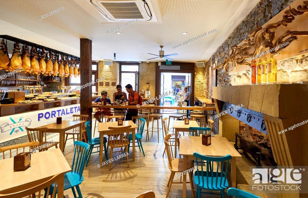 Stock Photo: Dining room, Tables to eat, Bar Restaurante Portaletas, Parte Vieja, Old Town, Donostia, San Sebastian, Gipuzkoa, Basque Country, Spain.