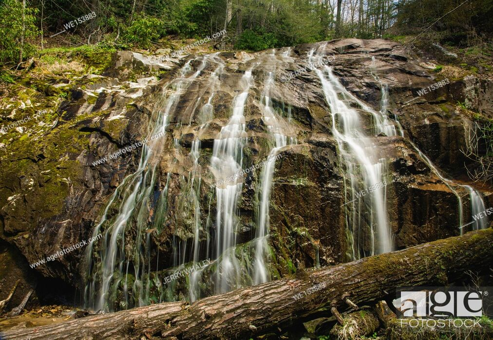 Stock Photo: Waterfall on the Glen Burney Trail in Blowing Rock, North Carolina.