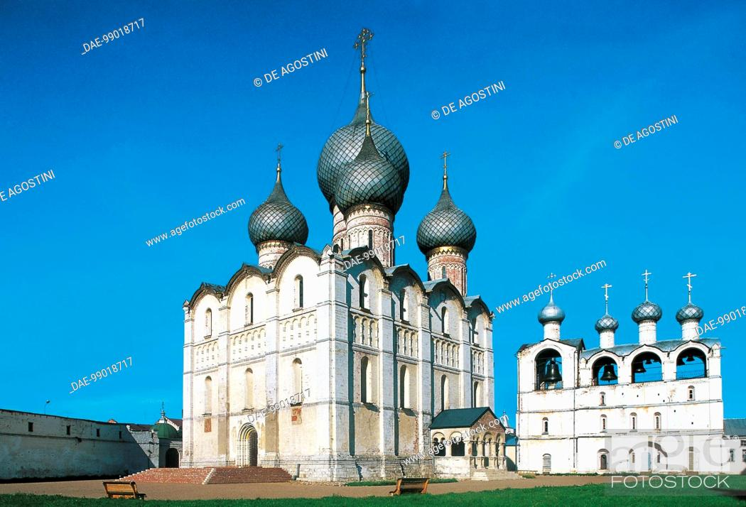 Stock Photo: View of the Episcopal City (17th century), Kremlin Palace (Unesco World Heritage List, 1998), Rostov Veliky, Central District, Russia.