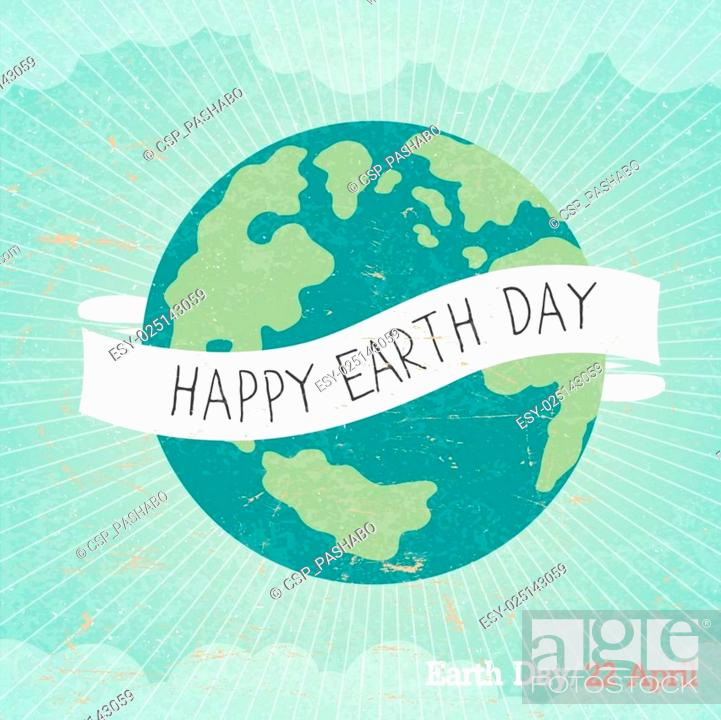 Stock Vector: Vintage Earth Day Poster. Cartoon Earth Illustration. Rays, clouds, sky. Text on white ribbon. On old paper texture. Grunge layers easily edited.