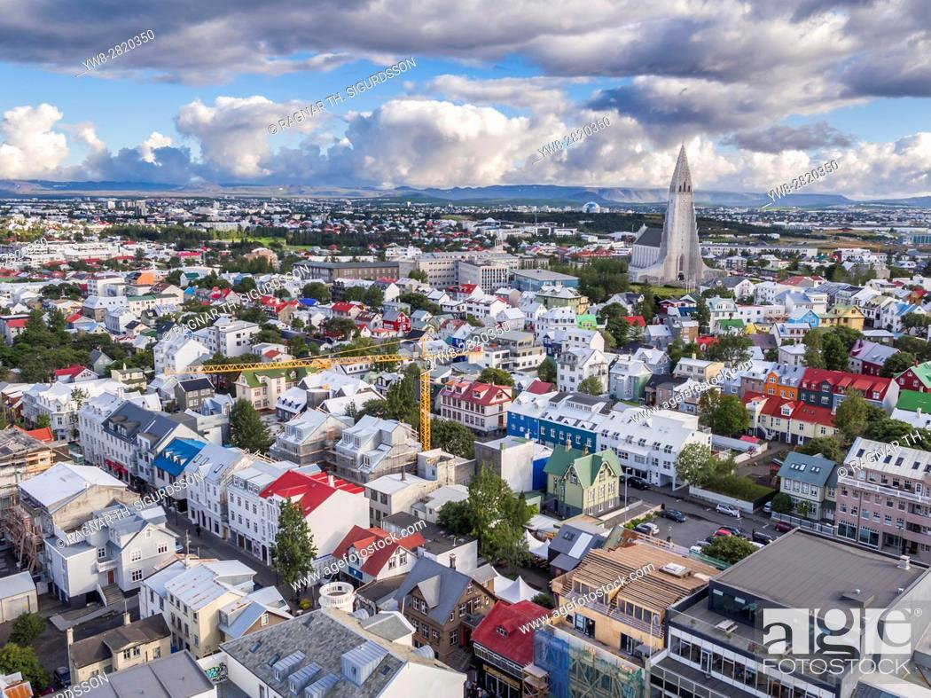 Stock Photo: Colorful roofs and homes, Reykjavik, Iceland. This image is shot with a drone.