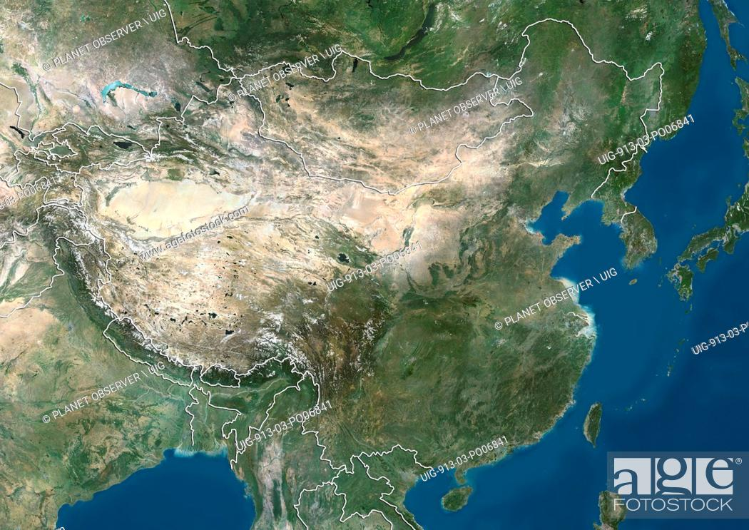 Imagen: Satellite view of China and Eastern Asia (with country boundaries). This image was compiled from data acquired by Landsat satellites.