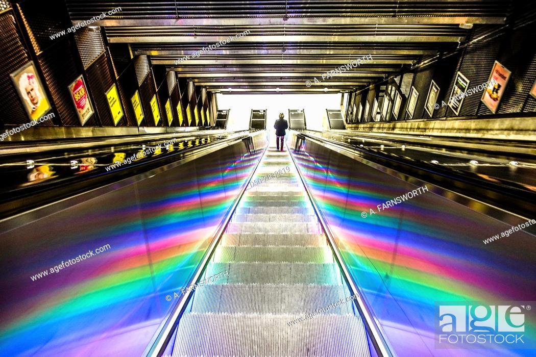 Stock Photo: STOCKHOLM, SWEDEN Illuminated escaltor at Tekniska Högskolan Metro station or Tunnelbana.