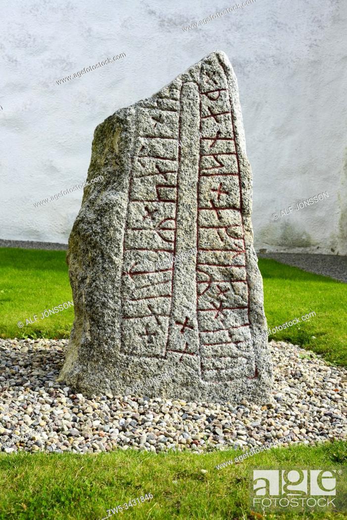 Stock Photo: Rune stone in Skårby, Scania, Sweden.