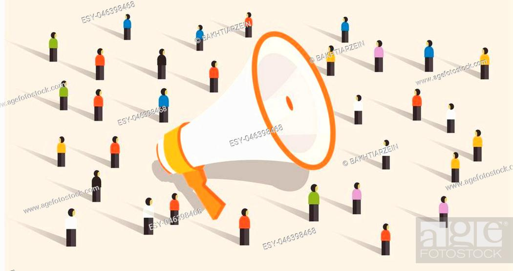 mass marketing communication to group of people loudspeaker public advertisement announcement vector stock vector vector and low budget royalty free image pic esy 046398468 agefotostock 2