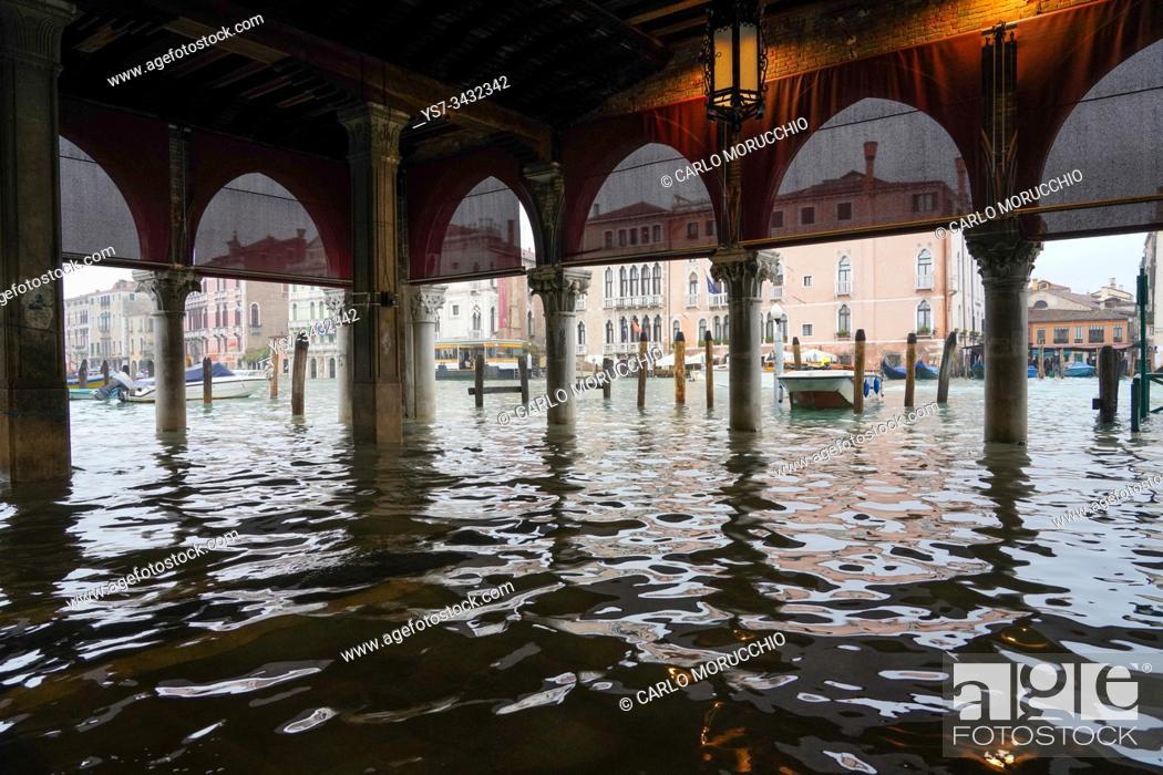 Imagen: Rialto fish market during the high tide in Venice, november 2019, Venice, Italy, Europe.
