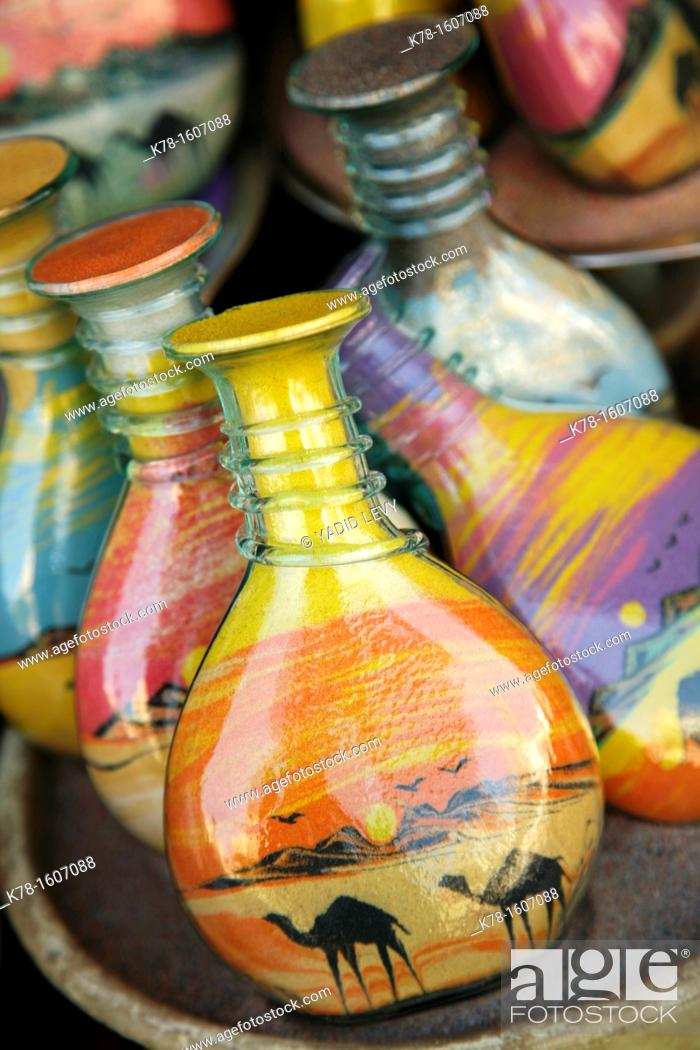 Stock Photo: Souvenir bottles filled with desert sand, Aqaba, Jordan.