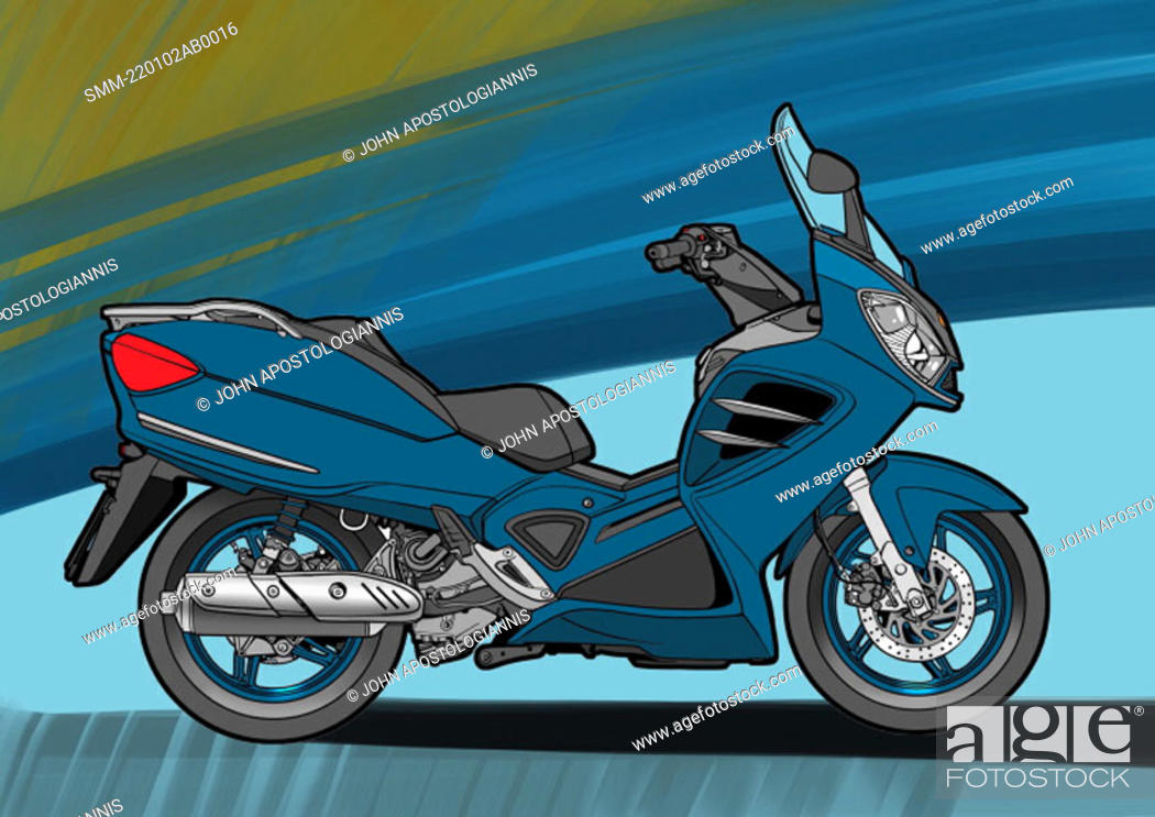 Stock Photo: Blue scouter motorbike with blue and green background.