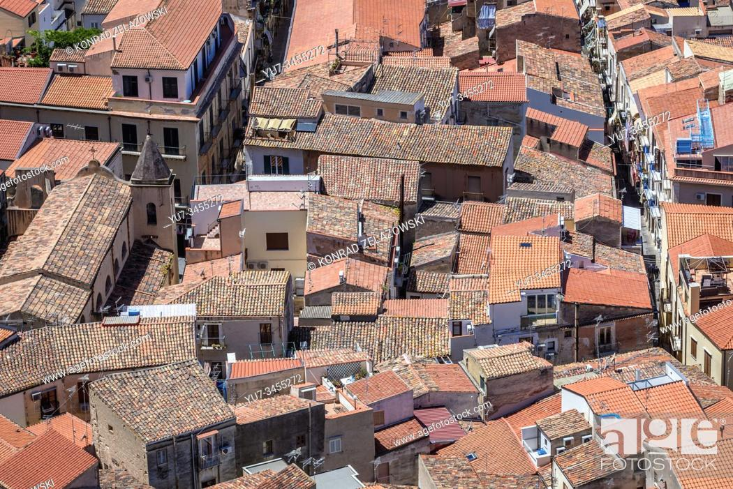 Stock Photo: Old Town roofs seen from Rocca di Cefalu rock massif in Cefalu city and comune, located on the Tyrrhenian coast of Sicily, Italy.